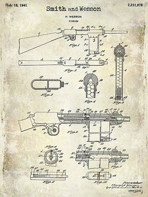 Smith And Wesson Photograph - 1941 Smith And Wesson Firearm Patent Drawing  by Jon Neidert
