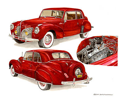 Painting - 1941 V 12  Lincoln Continental by Jack Pumphrey