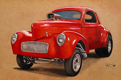 Drag Drawing - 1941 Willys Gasser Coupe Drawing by John Harding