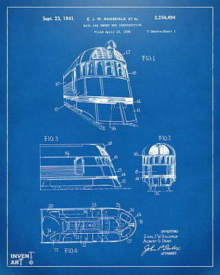 Caboose Drawing - 1941 Zephyr Train Patent Blueprint by Nikki Marie Smith