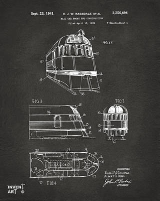 Caboose Drawing - 1941 Zephyr Train Patent Gray by Nikki Marie Smith