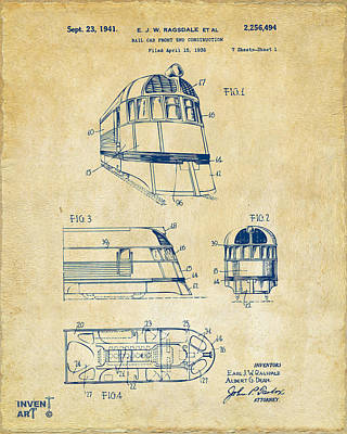 Caboose Drawing - 1941 Zephyr Train Patent Vintage by Nikki Marie Smith