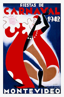 Carnaval Drawing - 1942 Carnaval Vintage Travel Poster by Jon Neidert