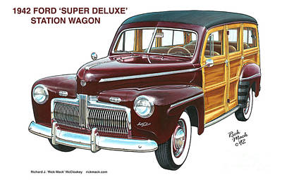 1942 Ford Station Wagon Art Print by Richard McCloskey