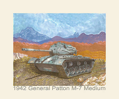 Painting - 1942 General Patton M 47 Medium Tank by Jack Pumphrey