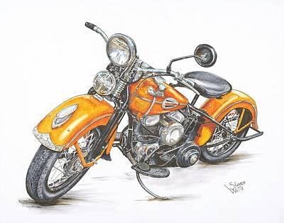 Bicycle Drawing - 1942 Harley Davidson Flathead by Shannon Watts