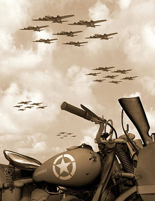 Sepia Photograph - 1942 Indian 841 - B-17 Flying Fortress' by Mike McGlothlen