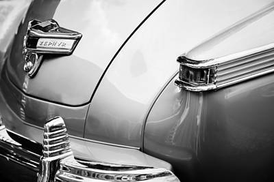 Lincoln Photograph - 1942 Lincoln Zephyr Coupe Taillight Emblem -1516bw by Jill Reger