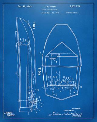 1943 Chris Craft Boat Patent Blueprint Art Print by Nikki Marie Smith