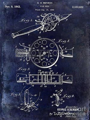 1943 Fishing Reel Patent Drawing Blue Art Print by Jon Neidert