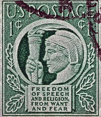 Photograph - 1943 Freedom Of Speech And Religion Stamp by Bill Owen
