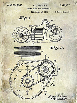 1943 Indian Motorcycle Patent Drawing Art Print by Jon Neidert