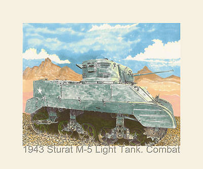 Not In Use Drawing - 1943 Stuart M-5 Light Tank Combat by Jack Pumphrey