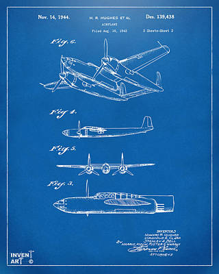 Digital Art - 1944 Howard Hughes Airplane Patent Artwork 2 Blueprint by Nikki Marie Smith
