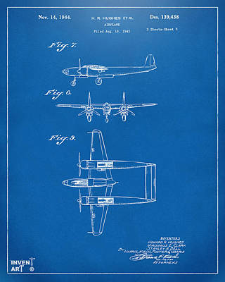 Digital Art - 1944 Howard Hughes Airplane Patent Artwork 3 Blueprint by Nikki Marie Smith