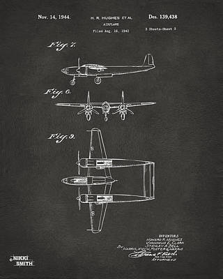 Digital Art - 1944 Howard Hughes Airplane Patent Artwork 3 - Gray by Nikki Marie Smith