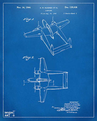 Digital Art - 1944 Howard Hughes Airplane Patent Artwork Blueprint by Nikki Marie Smith