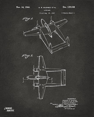 Digital Art - 1944 Howard Hughes Airplane Patent Artwork - Gray by Nikki Marie Smith