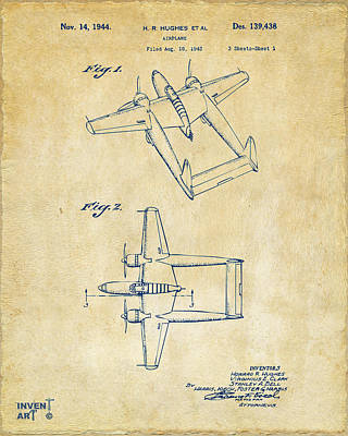 Digital Art - 1944 Howard Hughes Airplane Patent Artwork Vintage by Nikki Marie Smith