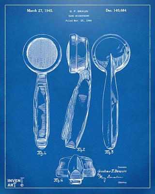 Microphone Digital Art - 1944 Microphone Patent Blueprint by Nikki Marie Smith