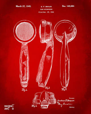 Microphone Digital Art - 1944 Microphone Patent Red by Nikki Marie Smith