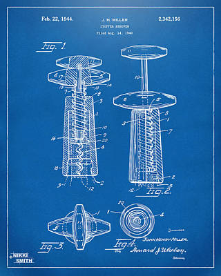1944 Wine Corkscrew Patent Artwork - Blueprint Art Print by Nikki Marie Smith