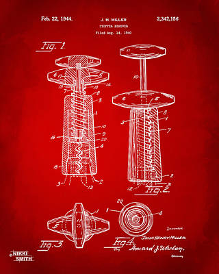 1944 Wine Corkscrew Patent Artwork - Red Art Print by Nikki Marie Smith