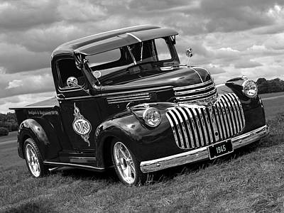 Photograph - 1945 Chevy In Black And White by Gill Billington