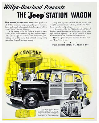 1946 - Willys Overland Jeep Station Wagon Advertisement - Color Art Print