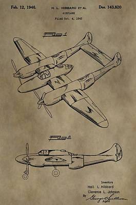Jet Mixed Media - 1946 Airplane Patent by Dan Sproul