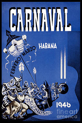 Carnaval Drawing - 1946 Carnaval Vintage Travel Poster by Jon Neidert