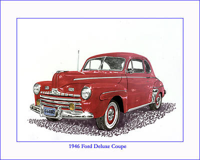 Painting -  Ford Special Deluxe Coup E  From 1946  by Jack Pumphrey