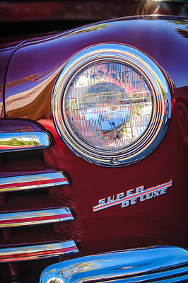 1946 Wall Art - Photograph - 1946 Ford Super Deluxe Sportsman Convertible Headlight Emblem by Jill Reger