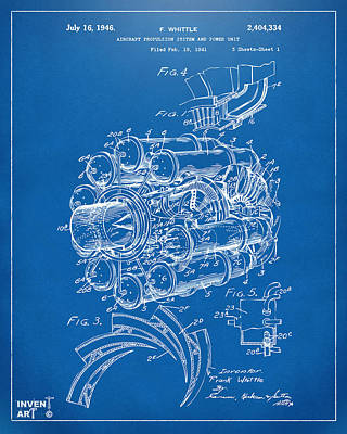 Digital Art - 1946 Jet Aircraft Propulsion Patent Artwork - Blueprint by Nikki Marie Smith
