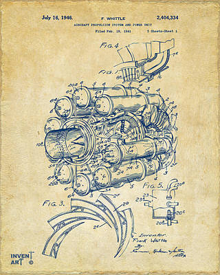 Power Digital Art - 1946 Jet Aircraft Propulsion Patent Artwork - Vintage by Nikki Marie Smith