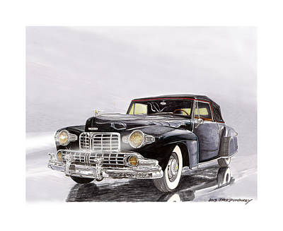 Painting - 1946 Lincoln Continental Convertible Foggy Reflection by Jack Pumphrey