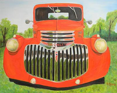 1946 Red Chevy Truck Art Print