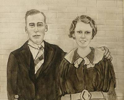 Painting - 1946 Wedding Portrait by Kelly Mills