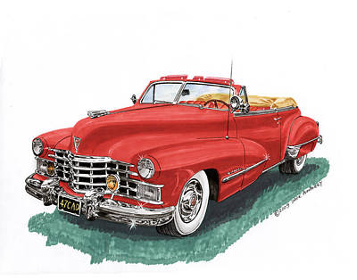Painting - Red 1947 Cadillac Series 62 Convertible by Jack Pumphrey