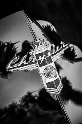 Photograph - 1947 Chrysler Town And Country Convertible Emblem -0882bw by Jill Reger