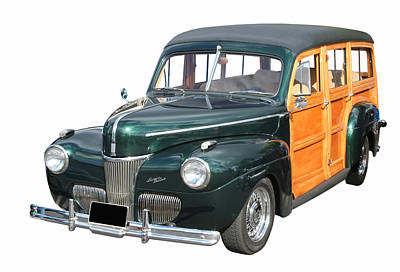 Photograph - 1947 Ford Woody In Green by John Orsbun