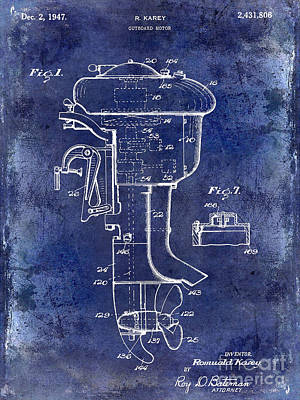 Smallmouth Bass Photograph - 1947 Outboard Motor Patent Drawing Blue by Jon Neidert