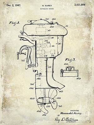 Cape Cod Photograph - 1947 Outboard Motor Patent Drawing by Jon Neidert