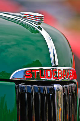 1947 Studebaker M5 Pickup Truck Grill Emblem - Hood Ornament Art Print