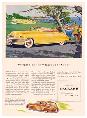 Woodie Station Wagon Digital Art - 1948 - Packard Convertible And Station Sedan Advertisement - Color by John Madison