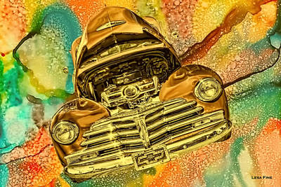 Photograph - 1948 Chev Gold Tie Dye Tilt Car Art by Lesa Fine