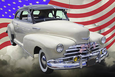 Photograph - 1948 Chevrolet Fleetmaster Car With American Flag by Keith Webber Jr
