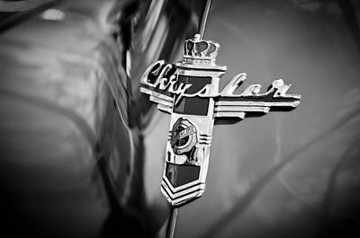 Photograph - 1948 Chrysler Town And Country Convertible Emblem -0974bw by Jill Reger