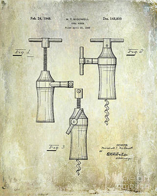 1948 Corkscrew Patent Drawing Art Print by Jon Neidert