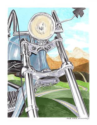 Painting - 1948 Harley Davidson W L A by Jack Pumphrey